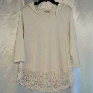One World White Lacy Long Sleeve Hooded Top